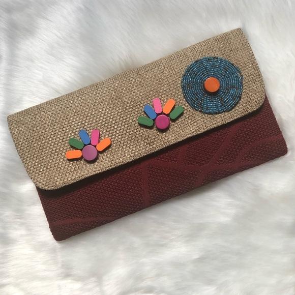 Handbags - Burgundy/Tan Oversized Clutch